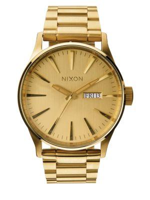 NIXON Men'S Sentry Stainless Steel Bracelet Watch 42Mm A356 in Gold