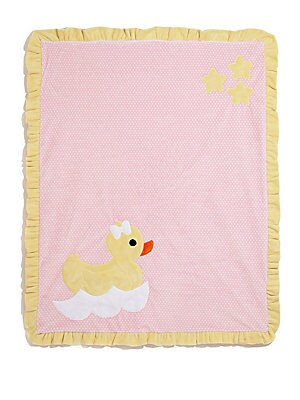 "Image of Plush ruffled blanket with cute duck motif 30""W X 36""L Microfiber Machine wash Made in USA. Children's Wear - Layette Apparel And Acce. Boogie Baby. Color: Pink Yellow."