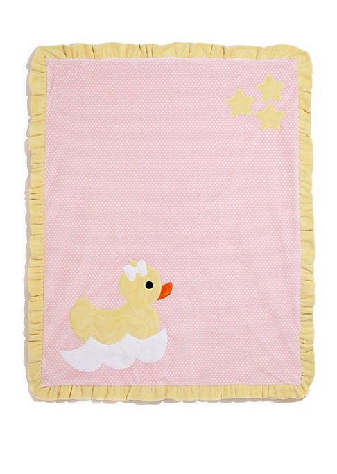 "Image of Plush ruffled blanket with cute duck motif.30""W X 36""L.Microfiber. Machine wash. Made in USA."
