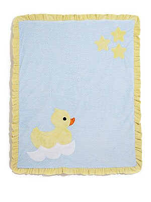 "Image of Plush ruffled blanket with duck mottif 30""W X 36""L Microfiber Machine wash Made in USA. Children's Wear - Layette Apparel And Acce. Boogie Baby. Color: Blue."