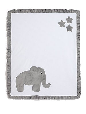 "Image of Plush ruffled blanket with elephant motif 30""W X 36""L Microfiber Machine wash Made in USA. Children's Wear - Layette Apparel And Acce. Boogie Baby. Color: White Grey."