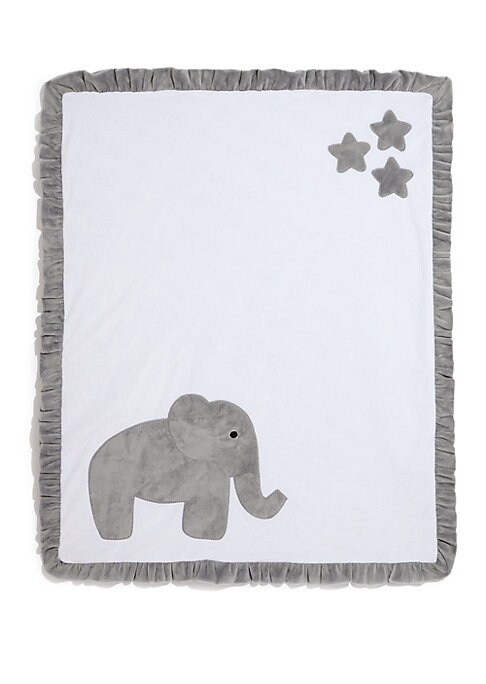 "Image of Plush ruffled blanket with elephant motif.30""W X 36""L.Microfiber. Machine wash. Made in USA."