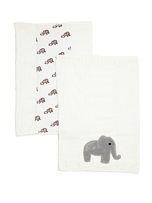 """Image of Wipe away spills with these printed cloths 14""""W X 19""""L Cotton Machine wash Made in USA. Children's Wear - Layette Apparel And Acce > Saks Fifth Avenue. Boogie Baby. Color: White."""