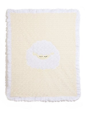 "Image of Plush ruffled blanket with sleepy lamb motif 30""W X 36""L Microfiber Machine wash Made in USA. Children's Wear - Layette Apparel And Acce. Boogie Baby. Color: Cream."