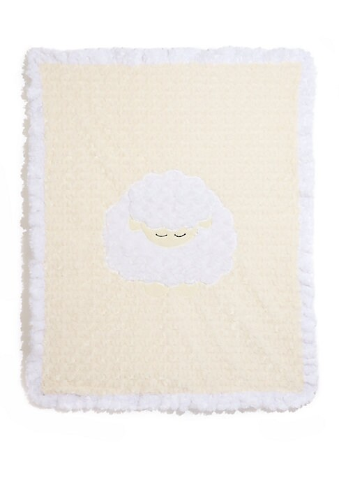 "Image of Plush ruffled blanket with sleepy lamb motif.30""W X 36""L.Microfiber. Machine wash. Made in USA."