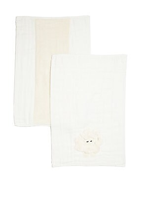 """Image of Wipe away spills with these printed cloths 14""""W X 19""""L Cotton Machine wash Made in USA. Children's Wear - Layette Apparel And Acce > Saks Fifth Avenue. Boogie Baby. Color: Cream."""