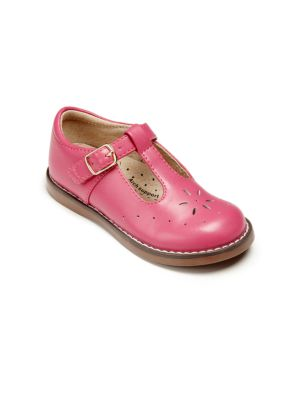 Image of A classic Mary Jane style with floral cutout detailing. Adjustable buckle closure. Leather upper. Leather lining. Rubber sole. Padded insole. Imported.