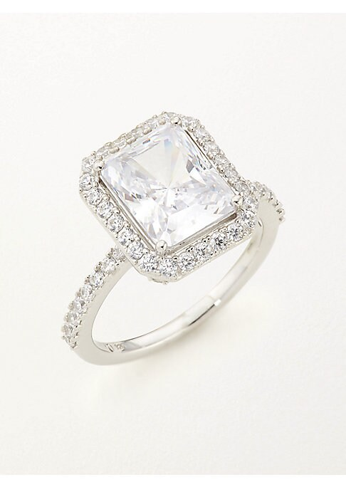 Image of EXCLUSIVELY AT SAKS FIFTH AVENUE. Timeless ring design with stunning pave detail. Cubic zirconia. Rhodium-plated sterling silver. Imported.