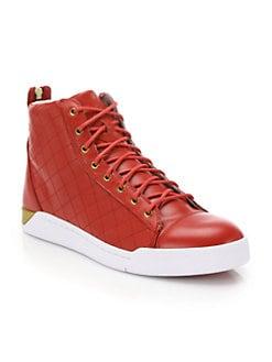 fdd5873f7b High Top. Diesel - Tempus Diamond Leather High-Top Sneakers