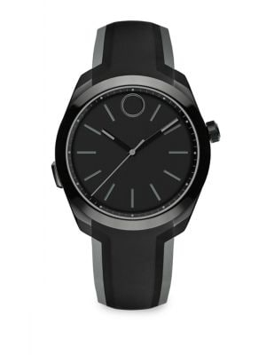 Movado Men's Bold Motion Silicon Strap Smart Watch 44mm In Black