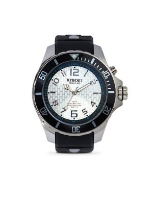 KYBOE! Power Silver Echo Black Silicone & Stainless Steel Strap Watch/48Mm in Black Silver