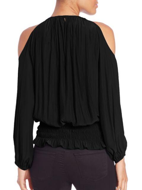 Ramy Brook Lauren Cold-Shoulder Smocked Top | SaksFifthAvenue