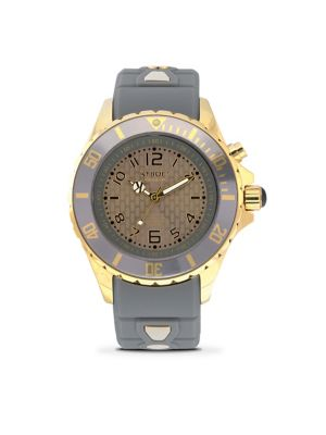 KYBOE! Power Gold Cyclone Grey Silicone & Goldtone Stainless Steel Strap Watch/40Mm
