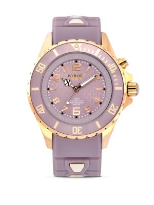 KYBOE! Rose Goldtone Stainless Steel & Silicone Strap Watch in Lavender