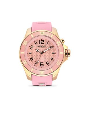 KYBOE! Power Rose Goldtone Stainless Steel & Pink Silicone Strap Watch/48Mm in Almond Blond