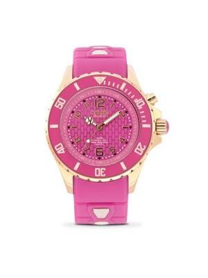 KYBOE! Power Rg Jolt Pink Silicone & Rose Goldtone Stainless Steel Strap Watch/40Mm in Rose Violet