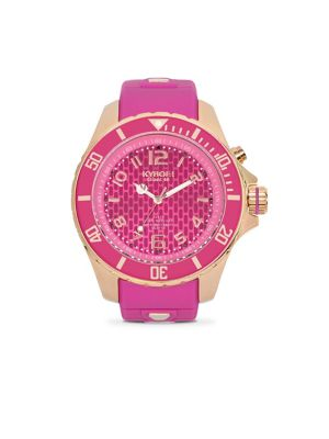 KYBOE! Power Rose Goldtone Stainless Steel & Violet Silicone Strap Watch/48Mm in Pink