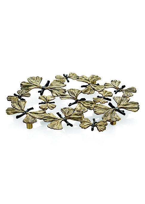 "Image of .From the Buterfly Gingko Collection. Intricately-crafted trivet.8""W x 11""H.Goldtone/oxidized bronze. Spot clean. Imported."
