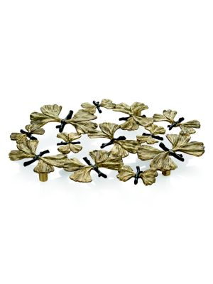 """Image of .From the Buterfly Gingko Collection. Intricately-crafted trivet.8""""W x 11""""H.Goldtone/oxidized bronze. Spot clean. Imported."""