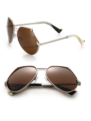 GREY ANT Embassy 60Mm Cutoff Sunglasses in Brown