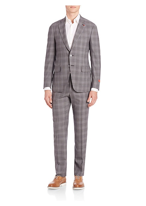 """Image of Well-tailored plaid jacket in a comforting fit. Wool. Dry clean. Made in Italy. JACKET. Notch lapel. Button front. Long sleeves. Besom chest pocket. Hip flap pockets. About 29"""" from shoulder to hem. PANTS. Flat-front style. Rise, about 10"""".Inseam, about 3"""