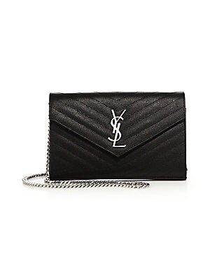 724dcec732 Saint Laurent - Small Monogram Mattelasse Leather Chain Wallet ...