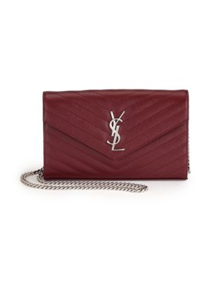 Saint Laurent Monogram Ysl Large V-Flap Grain De Poudre Calfskin Wallet On  Chain In ecf3e5293d