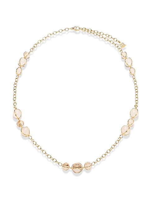 """Image of From the CL Crystal Collection. Rock crystal station necklace with diamond-topped center. Diamond, 0.06 tcw. Rock crystal.18k yellow gold. Length, 24"""".Lobster clasp. Made in Italy."""