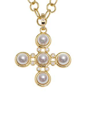 Temple St Clair Small Classic 5mm White Pearl Diamond Five Stone Cross Pendant