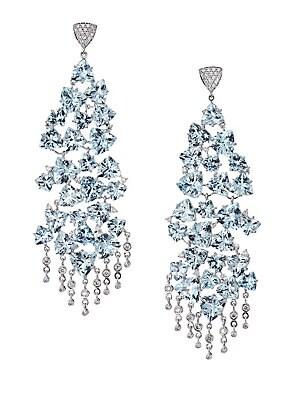 Hueb 18k White Gold Aquamarine Diamond Chandelier Earrings