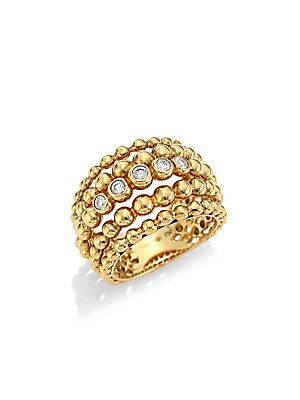 Image of From the Bubbles Collection. Shiny tiered bubble ring set with diamond trim. Diamonds, 0.21 tcw 18K yellow gold Imported. Fine Jewelry - Fine Designer Jewelry C. Hueb. Color: Gold.