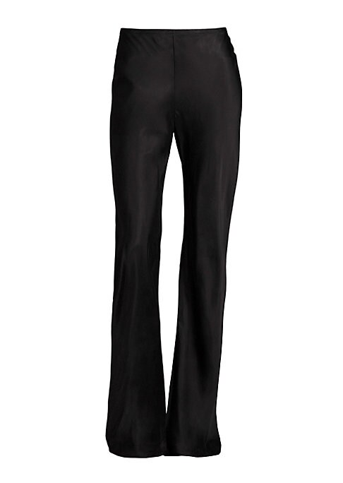 """Image of Stretch pant in perfectly flared silhouette. Elasticized waist. Flared hem. Pull-on style. Rise, about 10"""".Inseam, about 32"""".Viscose/elastane. Dry clean. Made in USA of Italian fabric. Model shown is 5'10"""" (177cm) wearing US size Small."""
