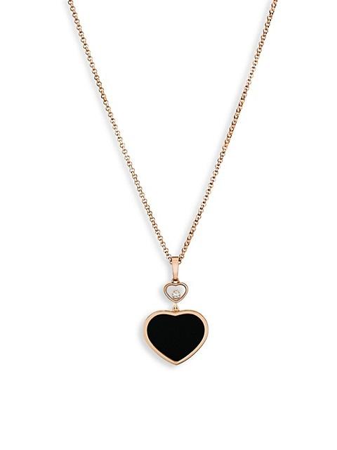 Happy Hearts 18K Rose Gold, Diamond & Black Onyx Pendant Necklace