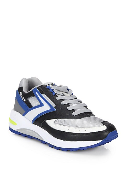 Image of A supportive running shoe that ensures maximum stability and comfort. Pebbled leather/mesh/polyurethane upper. Nylon lining. Padded insole. Rubber sole. Imported.