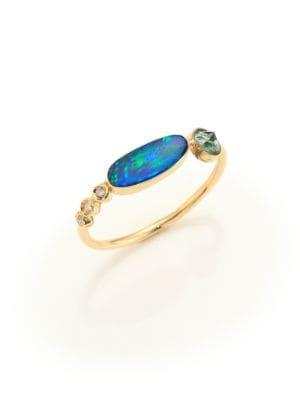 Jacquie Aiche Diamond, Opal, Green Tourmaline & 14K Yellow Gold Ring