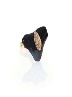 Diamond, Shark Tooth & 14K Yellow Gold Single Stud Earring