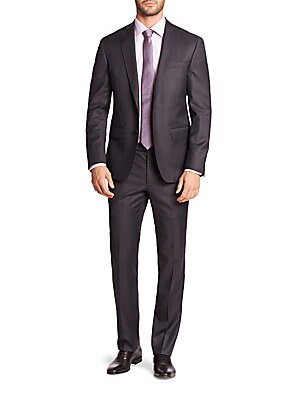 """Image of ONLY AT SAKS. Handsome solid dress staple fashioned from pure wool. Wool. Dry clean. Made in Canada. JACKET Peak lapel Two-button front Chest welt pocket Waist flap pockets Long sleeves Buttoned cuffs Dual back vents About 27"""" from shoulder to hem Fully l"""