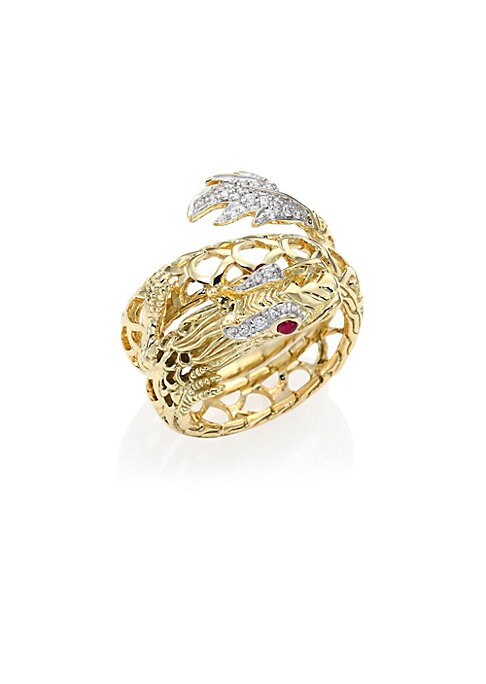 Image of From the Legends Collection. Dragon-inspired coil ring capped with diamond pave. Diamonds, 0.19 tcw. Ruby.18k yellow gold. Imported.