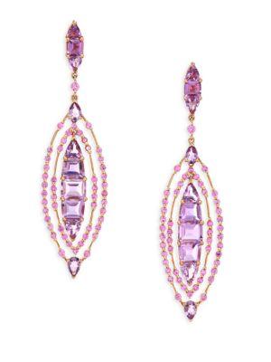 ETHO MARIA Pink Sapphire & Amethyst Drop Earrings in Rose Gold