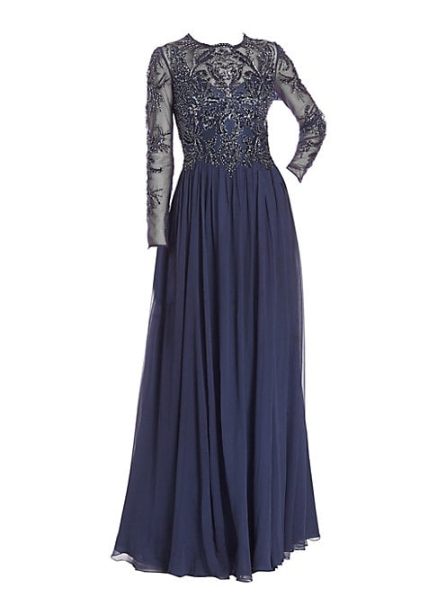 """Image of Beading and flowy georgette epitomize elegance. Roundneck. Long sleeves. Concealed back zip. Embellished bodice. Gathered, flowing skirt. About 62"""" from shoulder to hem. Polyester/silk. Dry clean. Imported. Model shown is 5'10"""" (177cm) wearing US size 4."""