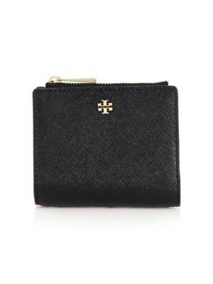 Tory Burch Robinson Mini Saffiano Leather Wallet In Pale Apricot