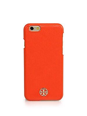 new product 25eb0 e3dac Tory Burch - Robinson Leather iPhone Case - saks.com