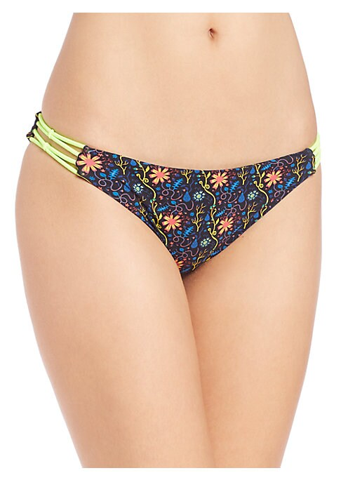 Image of Reversible swim style accented with contrast bungee detailing. Stretch bottom. Reversible. Strappy sides. Lined. Nylon/elastane. Contrast: Nylon/rubber. Hand wash. Made in USA of Italian fabric. Please note: Bikini top sold separately.