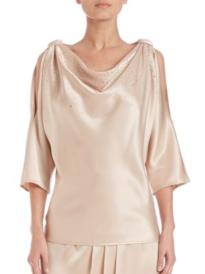 Caviar Collection Beaded Satin Cold-Shoulder Top by St. John