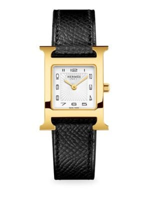 Hermès Watches Heure H 21MM Goldplated & Leather Strap Watch