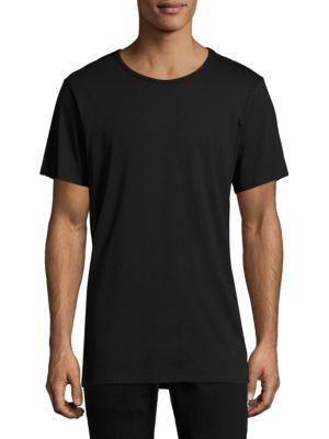 TWENTY TEES Short-Sleeve Longline Tee in Black