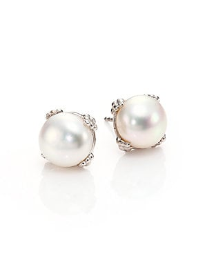 Image of Chic earrings with an oversized, elegant pearl 10mm freshwater pearl Rhodium plated sterling silver Post back Imported. Fashion Jewelry - Modern Jewelry Designers > Saks Fifth Avenue. Anzie. Color: White.