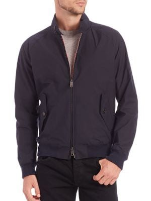 Image of Lightweight essential for stormy weather protection. Stand collar. Raglan long sleeves. Two-way zip front. Front buttoned flap pockets. Ribbed cuffs and hem. Vented back yoke. Lined. Nylon/polyurethane. Machine wash. Imported.