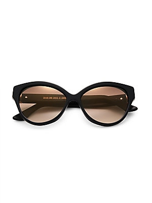 Image of Dramatically upswept cat's-eye style with printed rim 56mm lens width; 16mm bridge width; 145mm temple length 100% UV protection Case and cleaning cloth included Acetate Made in Italy. Soft Accessorie - Sunglasses > Saks Fifth Avenue. Cutler and Gross. Co