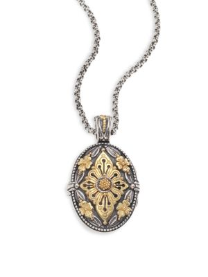 Konstantino Hebe Engraved 18K Yellow Gold & Sterling Silver Pendant
